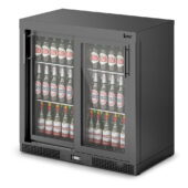 IMC Mistral M90 Bottle Cooler [Front Load] - Sliding Glass Doors - Black Painted Frame - H 900 mm - W 900 mm - 0.46 kW