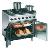Silverlink 600 Natural Gas Free-standing Oven Range - Castors at Rear - 6 Burners - W 900 mm - 35.5 kW