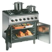 Silverlink 600 Natural Gas Free-standing Oven Range - Legs at Rear - 6 Burners - W 900 mm - 35.5 kW