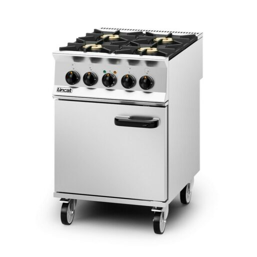 Lincat Opus 800 Dual Fuel [Natural Gas] Free-standing Oven Range - 4 Burners - W 600 mm - 30.0 kW