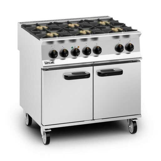 Lincat Opus 800 Dual Fuel [Natural Gas] Free-standing Oven Range - 6 Burners - W 900 mm - 45.0 kW
